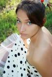 Menina bonita com olhos azuis grandes Imagens de Stock