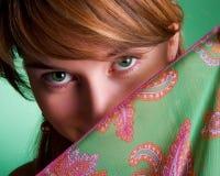 Menina bonita com olhos verdes Imagens de Stock Royalty Free