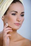 Menina bonita com a pele perfeita que aplica cosméticos a sua face imagem de stock royalty free