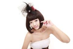 Menina bonita com penteado agradável Foto de Stock Royalty Free