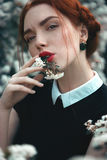 Menina bonita com redhair encaracolado Imagem de Stock Royalty Free