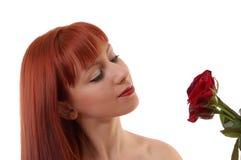 Menina bonita com rosas imagem de stock royalty free