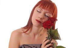 Menina bonita com rosas imagens de stock royalty free