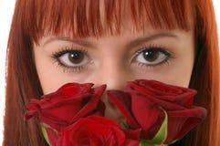 Menina bonita com rosas fotos de stock royalty free