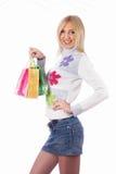 Menina bonita com sacos de compras foto de stock royalty free
