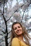 Menina bonita com sakura de florescência Imagem de Stock