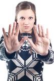 Menina bonita com sinal do batente Foto de Stock Royalty Free