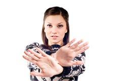 Menina bonita com sinal do batente Fotografia de Stock