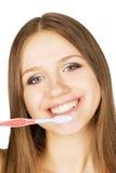Menina bonita com tooth-brush Fotografia de Stock