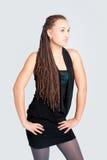 Menina bonita com tranças afrivan Fotografia de Stock Royalty Free