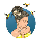 Menina bonita com um cabeleireiro bonito Ilustração do gráfico de cor ilustração royalty free
