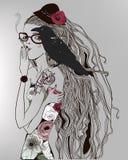 Menina bonita com um corvo ilustração stock
