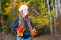 Menina bonita com um grupo das folhas Fotos de Stock Royalty Free
