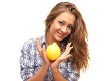 Menina bonita com um limão Foto de Stock Royalty Free