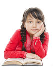 Menina bonita com um livro imagens de stock royalty free
