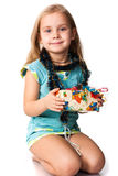 Menina bonita com um presente imagens de stock royalty free