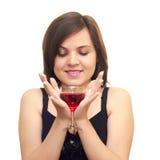 Menina bonita com um vidro Imagem de Stock