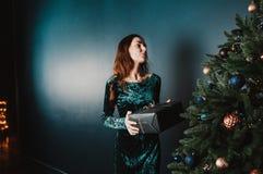 Menina bonita com uma caixa de presente perto da árvore de Natal fotos de stock