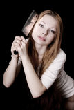 Menina bonita com uma faca Fotografia de Stock Royalty Free