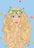 A menina bonita com uma grinalda Fotos de Stock Royalty Free