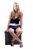 Menina bonita com uma mala de viagem Imagens de Stock Royalty Free