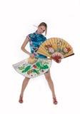 Menina bonita com ventilador japonês Imagem de Stock