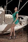 Menina bonita com vestido verde Fotografia de Stock Royalty Free