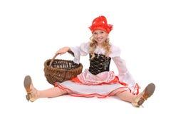 Menina bonita como pouco tampão vermelho Imagens de Stock Royalty Free