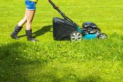 A menina bonita corta o gramado, gramados de sega, cortador de grama na grama verde, equipamento da grama da segadeira, ferrament Fotos de Stock