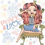 Menina bonita da forma do vetor ilustração royalty free