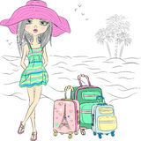 Menina bonita da forma do vetor na praia do mar Imagem de Stock
