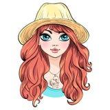 Menina bonita da forma do vetor no chapéu ilustração do vetor