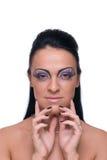 Menina bonita da forma no terno de couro preto Imagem de Stock Royalty Free