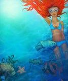 Menina bonita da natação ilustração do vetor