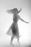 A menina bonita dança elegantemente no fumo e na névoa Fotografia de Stock Royalty Free