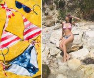 Menina bonita de duas fotos no roupa de banho do biquini Imagens de Stock Royalty Free