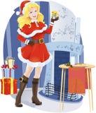 Menina bonita de Santa com presente de Natal Fotos de Stock