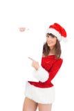 Menina bonita de Santa que guarda o cartaz Fotos de Stock Royalty Free