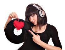Menina bonita DJ com lp Imagem de Stock Royalty Free