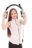 Menina bonita do estudante do operador do serviço ao cliente com headse Fotografia de Stock