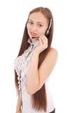 Menina bonita do estudante do operador do serviço ao cliente com headse Fotos de Stock Royalty Free