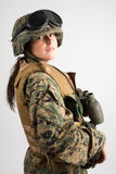 Menina bonita do exército. Foto de Stock Royalty Free