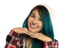 Menina bonita do moderno que sorri com alegria Imagem de Stock Royalty Free