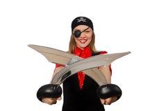 Menina bonita do pirata que mantém a espada isolada no branco Imagem de Stock Royalty Free