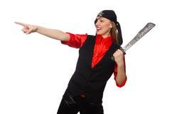 Menina bonita do pirata que mantém a espada isolada no branco Fotos de Stock Royalty Free