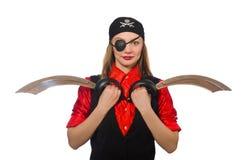 Menina bonita do pirata que mantém a espada isolada no branco Fotografia de Stock