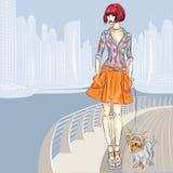 A menina bonita do vetor com cão anda ao longo da margem ilustração stock
