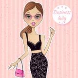 Menina bonita do vetor Mulher de negócio atrativa Menina de sorriso ilustração royalty free