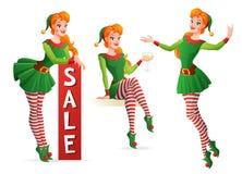 Menina bonita do vetor no traje do duende do Natal em poses diferentes ilustração do vetor