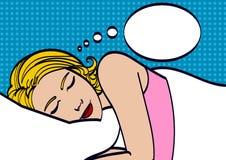 A menina bonita dorme no quarto Menina do pop art Anunciando o poster Mulher cômica Fundo do pop art dreamy ilustração do vetor
